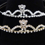 Gold/Silver Rhinestone Tiara Headbands Clear Stones (335) .65 each
