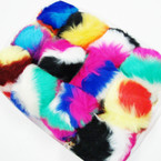 "4"" Big Faux Fur Multi Color Keychain/Purse Charm .66 each"