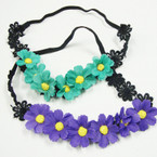 Colorful Flower Headbands w/ Elastic Back  .52 each