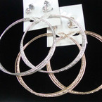"3.5"" Gold & Silver Fancy Hoop Earrings w/ 2 Pair Crystal Stones .54 per set"
