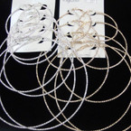 4 Pair Gold & Silver Fancy Textured Hoop Earrings .54 per set