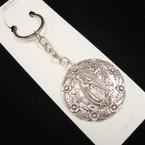 Cast Silver Metal Round Guadalupe Keychain .54 ea