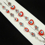 Hamsa Link Bracelet w/ Red Eye Beads 2 shapes per dz .54 each