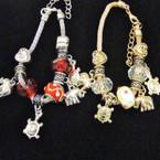 Pandora Style Gold & Silver Bracelets w/ Elephant & Turtle Charms .56 each
