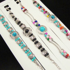Fashionable Silver & Colored Bead Bracelets .54 each