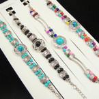 Fashionable Silver & Colored Bead Bracelets .54 each