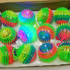 "3"" Flashing Spikey Multi Color Squeakie Ball 12 per display .58 each"