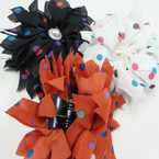 "SPECIAL 4"" Poka Dot w/ Pearl Jaw Clip Bows ONLY .42 ea"