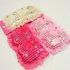 "2 Pk 3"" Sequin Kitty Gator Clip Bows 3 colors .42 per set"