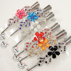 "5"" Silver Metal Salon Clip w/ Stones Asst Colors .54 each"