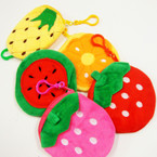 "4"" Mixed Style Fruit Zipper Clip On Coin Purses .54 each"