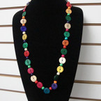 "30"" Fashion Wood Disc Necklaces Mixed Colors .65 each"
