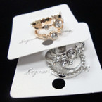 Gold & Silver 3 Pack Fashion Rings w/ Stones .54 per set