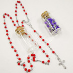 "30"" Glass Bead Rosary in Glass Bottle Asst Colors .58 each"