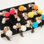 Trendy Gold Cuff Ring w/ Charms & Pom Pom 12 per bx .56 each