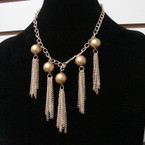 Gold & Silver Matt Beaded Necklace w/ Dangle Chains .58 each