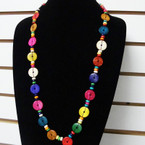 "30"" Long Fashion Wood Disc Necklaces Mixed Colors .65 each"