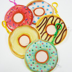 "4"" Donut Theme Velveteen Zipper Coin Purse w/ Clip .54 each"
