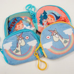 "Cute 3.5"" Kids Theme Velveteen Zipper Coin Purse w/ Clip .54 each"