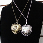 "24"" Gold & Silver Chain Necklace w/ Big Heart w/ Stone Pendant .56 each"