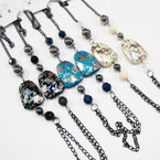 "30"" Chain Fashion Necklace w/ Oriental Square Flower .58 each"