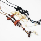 "30"" 3 Color Wood & seed Bead Tassel Necklace .56 each"