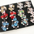 Big Glass Cube Rings w/ Crystal Stones .54 each
