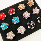 2 Tier Crystal Stone & Stone Flower Fashion Rings .54 each
