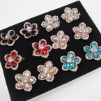 Crystal Stone & Stone Flower Fashion Rings .54 each