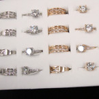 Gold & Silver Crystal Stone Ring 24 per box ONLY .27 each