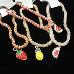 Crystal Stone Stretch Bracelets w/ Asst Fruit Charms .54 each