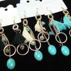 Trendy Gold Chain Tassel Earrings w/ Turquoise Beads .54 each