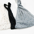 3 in 1 Use Soft Fabric Headwraps w/ Stones 3 colors  .54 each