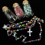 "30"" Glass Bead Rosary in Glass Bottle Three Colors .58 each"