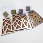"""2.5"""" 2 Color Gold/Silver Wood Fashion Earrings  .54 each"""