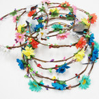 Popular Brown Wire Halo w/ Asst Color Flowers .58 each