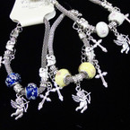 Pandora Style  Silver Bracelets w/ Angel & Cross Charms .56 each