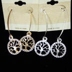 Gold & Silver Wire Earring w/ Crystal Stone Tree of Life  .54 each