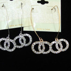 Gold & Silver Wire Earring w/ Crystal Stone DBL Circles   .54 each