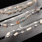 Gold & Silver Chain Anklets w/ Natural Stone & Crystals .54 each