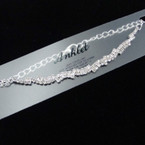 Silver Fancy  Rhinestone  Chain Anklets (85S) .54 each