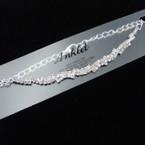 Silver Fancy  Rhinestone  Chain Anklets (85S) .54 each
