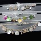 Gold & Silver Chain Anklets w/ Shell Disc & Crystals .54 each