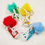"3"" Sequin Sneaker Keychain w/ Colorful Pom Pom 12 per pk .56 each"