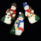 "3.5"" Poly Resin Christmas Snowman Magnets 10 per bx .50 each"