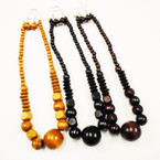 "20"" Wood Bead Necklace Set 3 Colors .56 each set"