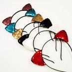 Popular Cat Ears Headbands w/ Sequin Ears .56 each