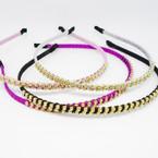 Popular Sparkle Wrapped Headband w/ DBL Line Crystal Stones .54 each