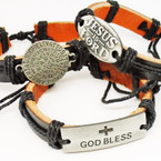 Teen Leather Bracelet w/ Faith Theme 3 Styles .54 each
