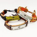 God Bless Teen Leather Bracelets Gold & Silver  .54 each